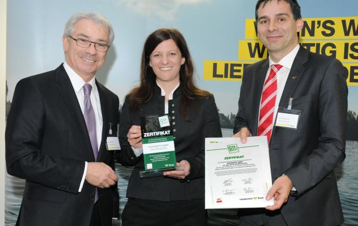 Moosmayr erhielt Umweltschutz-Zertifikat der POST AG